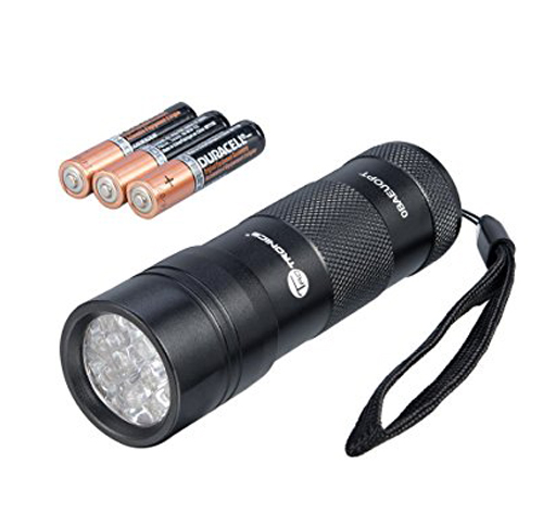 2. TaoTronics TT-FL001 UV Flashlight Blacklight, 12 UV LED with AAA Batteries