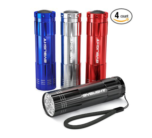 11. BYB Pack of 4 9 LED Flashlight