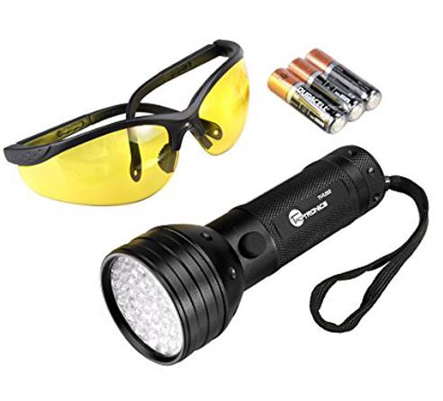 15. TaoTronics UV Flashlight , TaoTronics 51 Ultravilot Urine Detector for dogs, Pet Stain Detector, Dog Urine Remover, Bed Bug Detector with UV Sunglasses