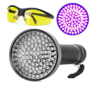 9. Escolite 100 UV 395nM LED Black light Flashlight, Pet Urine and Scorpion Detector Plus Free UV Protective Sunglass