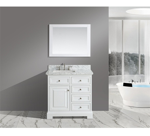 "3. Urbanfurnishing.net –Rochelle 36"" Bathroom Sink Vanity Set with White Italian Carrara Marble Top"