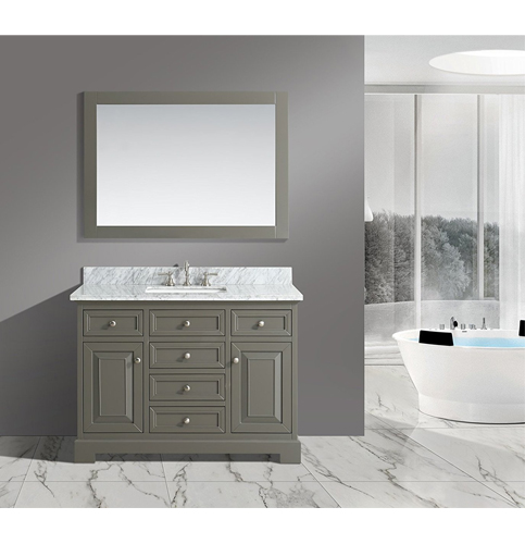 "4. Urbanfurnishing.net –Rochelle 48"" Bathroom Sink Vanity Set with White Italian Carrara Marble Top"