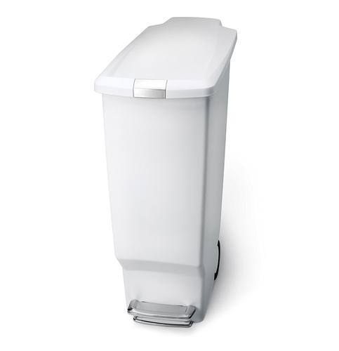 8. simplehuman 40 L / 10.6 Gal White Plastic Trash Can