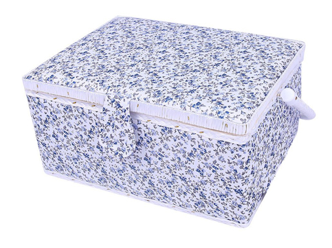 4. Generic Flowers Blue Large Sewing Box Basket