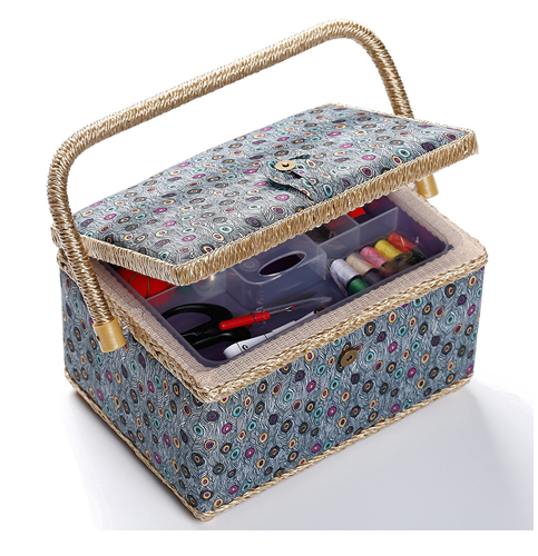 5. bbloop Blue Peacock Style Sewing Basket