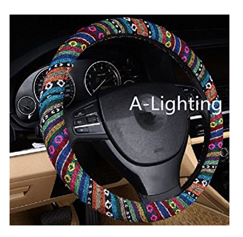 9. Coarse Flax Cloth Automotive Steering Wheel Cover