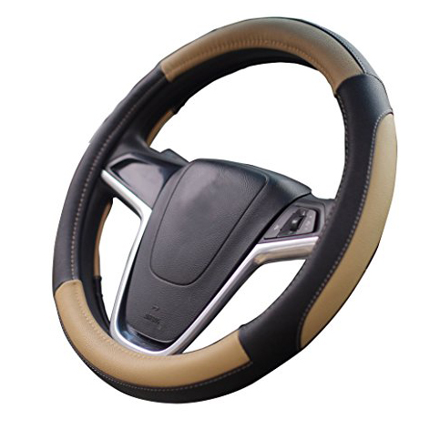 7. Mayco Bell Car Steering Wheel Cover (Black Beige)
