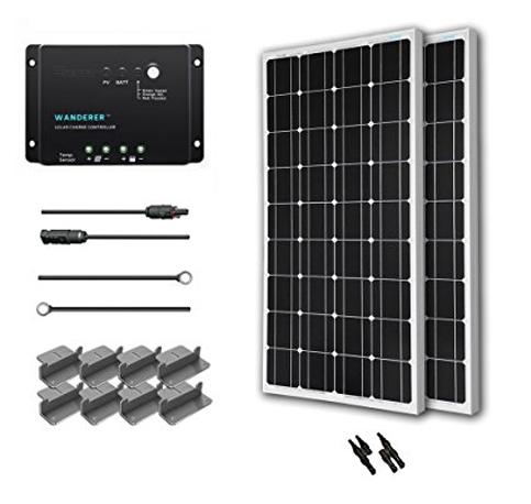 2. Renogy 200W- 12 Volt Mono-crystalline Solar Starter Kit with Wanderer