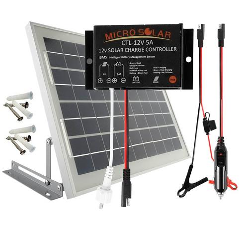 3. MicroSolar 10Watts Solar Panel Charging Kit