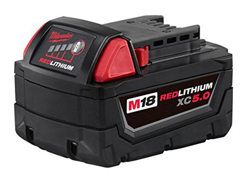 9. Milwaukee 48-11-1850 M18 Redlithium 5.0Ah Battery