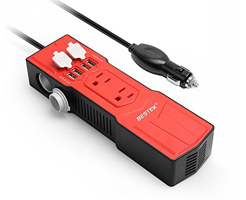 3. BESTEK 200W Power Inverter with 4.8A 4 USB Ports Car Adapter