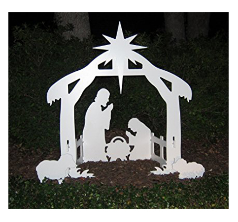 1. Teak Isle Outdoor Nativity Set