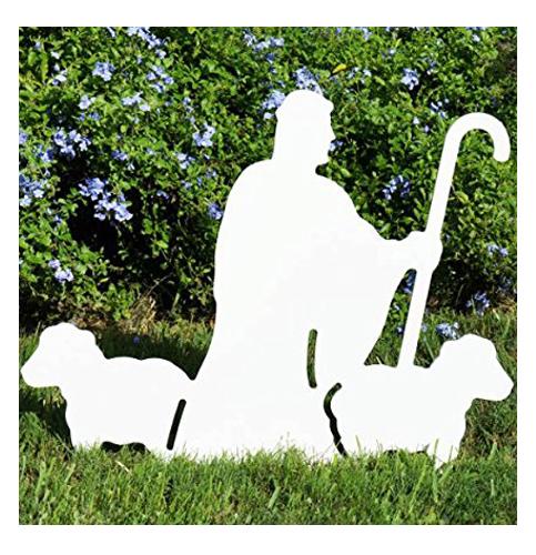 7. Teak Isle Nativity Shepherd with Sheep Figure