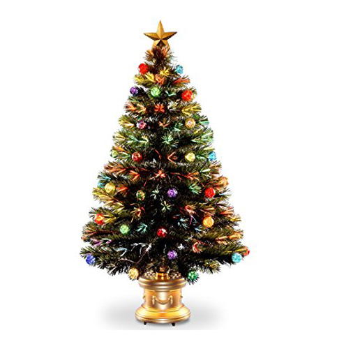 "10. National Tree 48"" Fiber Optic Ornament Fireworks Tree"