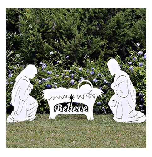 8. Teak Isle Nativity Set- Believe Holy Family Outdoor