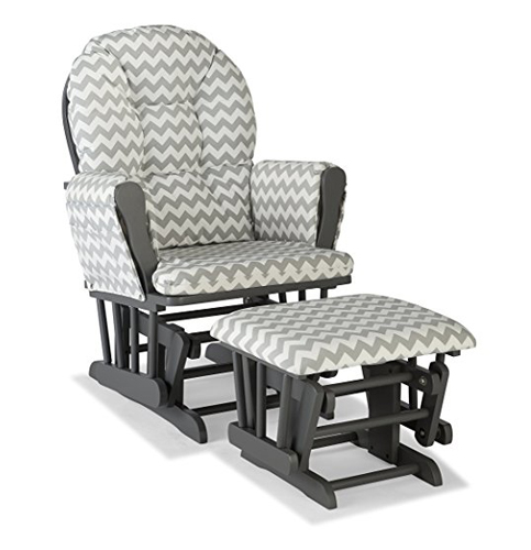 3. Stork Craft Gray/Gray Chevron Glider and Ottoman