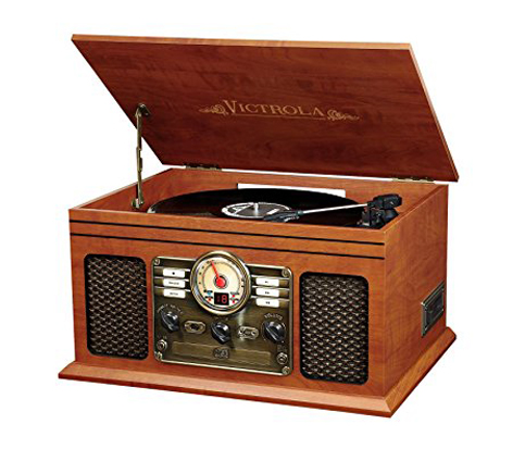 4. Innovative Technology 6-in-1 Mahogany Turntable