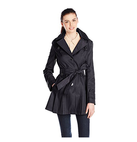 5. Via Spiga Women's Single-Breasted Belted Trench Coat with Hood