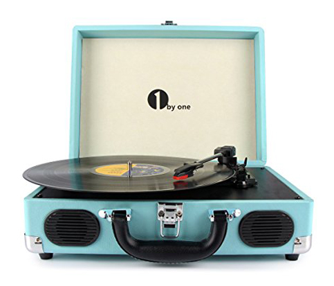 10. 1byone Turquoise Portable Stereo Turntable with Built in Speakers