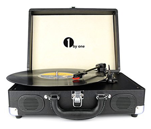 7. 1byone 3-Speed Portable Stereo Turntable with Built in Speakers