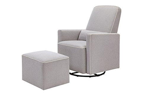 5. DaVinci Grey Swivel Glider with Ottoman