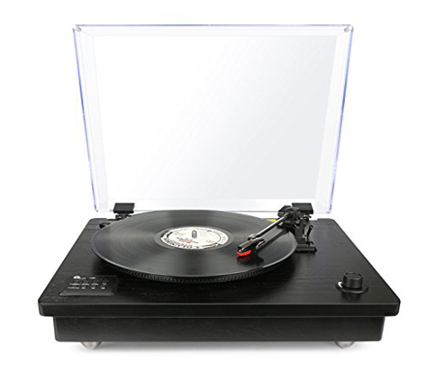 8. 1byone Black Bluetooth Turntable
