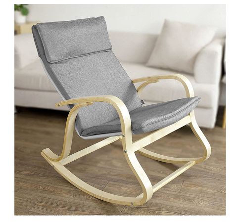 6. SoBuy Grey Rocking Chair (FST15-DG)