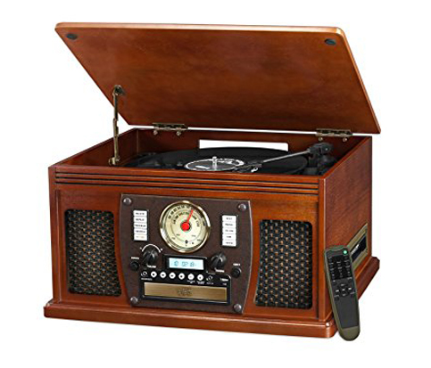 5. Innovative Technology 8-in-1 Mahogany Turntable