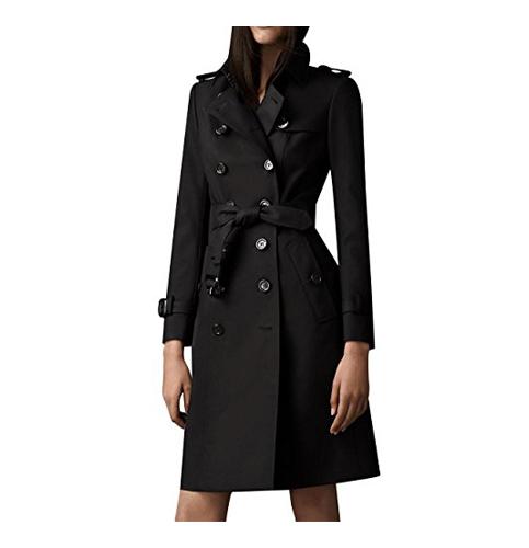 4. Eorish Women's Elegant Jacket Double Breasted Slim Long Trench Coat