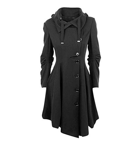 6. ETCYY Women's Asymmetrical Winter Long Trench Jackets Coat