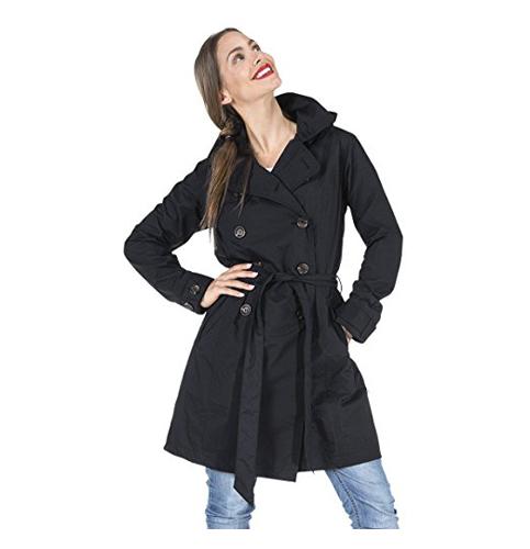 8. Happy Rainy Days Women's Classic Trench Coat
