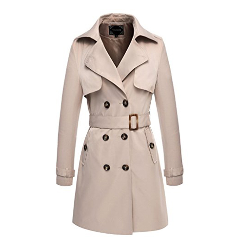7. Valuker Women's Double Breasted Long Trench Coat with Belt