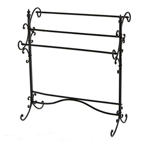 10. Elegant Scrolled Metal 3-Bar Quilt Stand