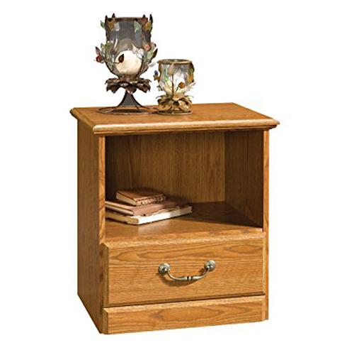4. Sauder Orchard Hills quality nightstand, carolina oak finish, open shelf and a drawer