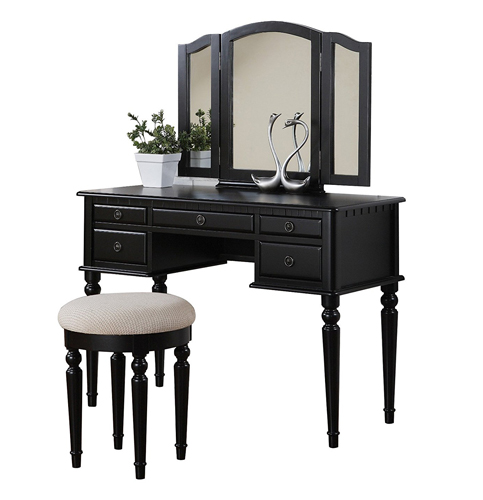 6. BOBKONA Black Vanity Set with Stool (F4072)