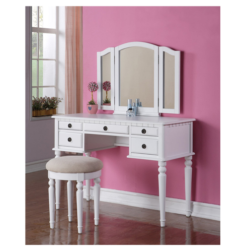 1. BOBKONA White Vanity Set with Stool (F4074)