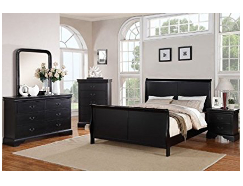 10. Poundex Black Louis Phillipe Bedroom Set