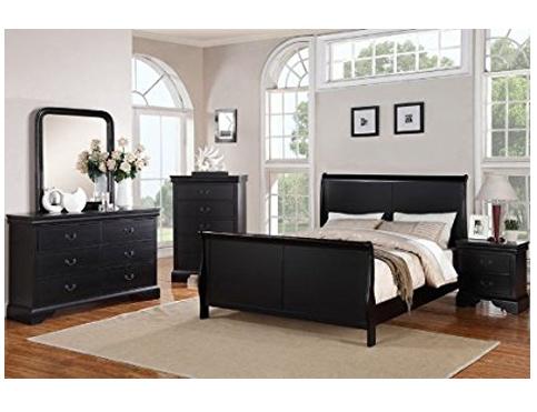 10. Poundex Black Louis Phillipe Bedroom Set