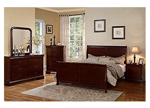 1. Poundex Cherry Louis Phillipe Bedroom Set
