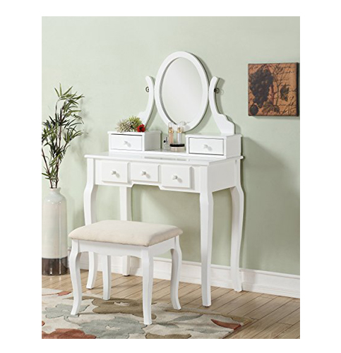 4. Roundhill Furniture White Vanity Table and Stool Set