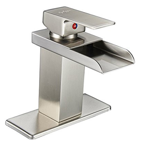 7. Eyekepper Nickel Brushed Waterfall Bathroom Sink Faucet