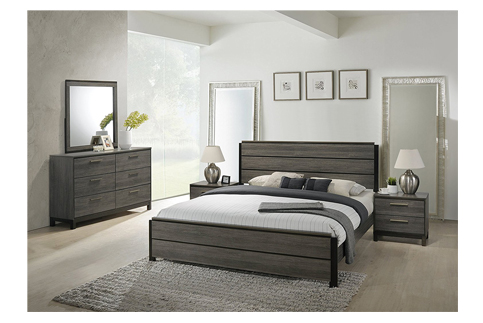 5. FurnitureMaxx Grey Finish Wood Bed Room Set