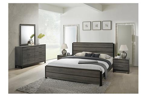5. FurnitureMaxx Grey Finish Wood Bed Room Set