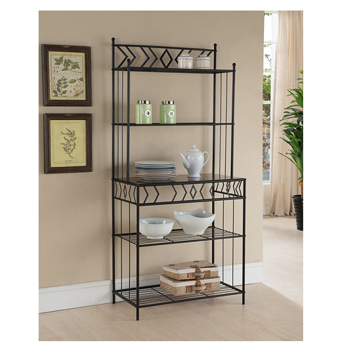9. Kings Brand Furniture Metal with Marble Finish 5-Tier Bakers Rack