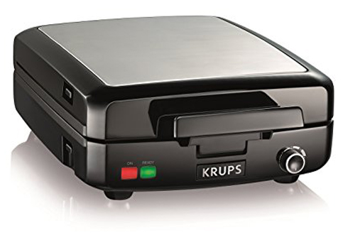 5. KRUPS 4-Slice Silver and Black Belgian Waffle Maker (GQ502D)