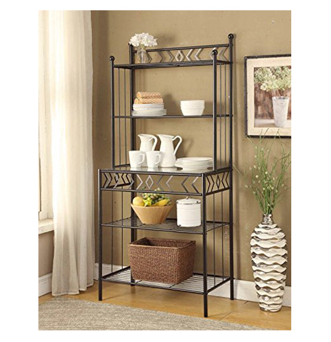 5. Five tier Black Metal Glass Shelves Bakers Rack