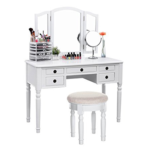 2. SONGMICS URDT108M White Vanity Set