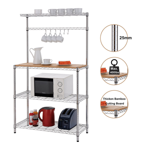 1. Finnhomy 4-Tiers Adjustable Kitchen Bakers Rack Kitchen Cart Microwave Stand