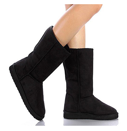 7. Soda Women's Faux Suede Fur Mid-Calf Flat Boot