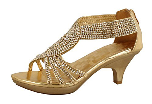 2. Delicacy Shoes Angel-62 Womens Rhinestone Low Heel Sandal
